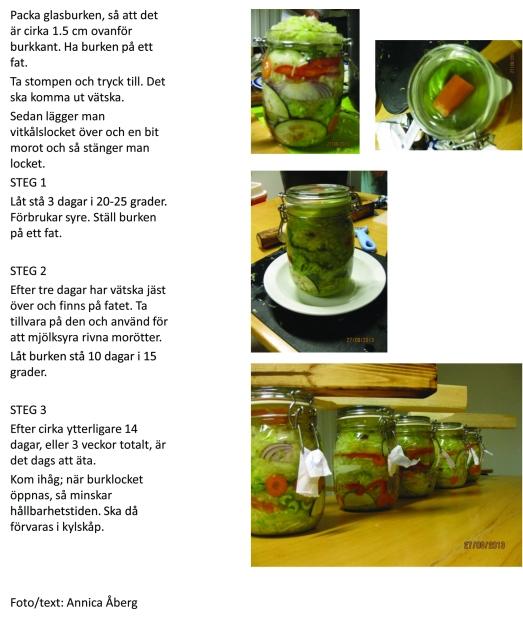 Mjölksyrade grönsaker fermentering